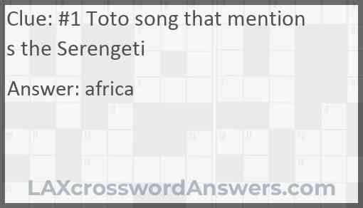 #1 Toto song that mentions the Serengeti Answer