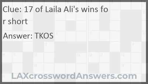 17 of Laila Ali's wins for short Answer