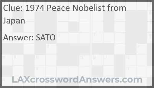 1974 Peace Nobelist from Japan Answer