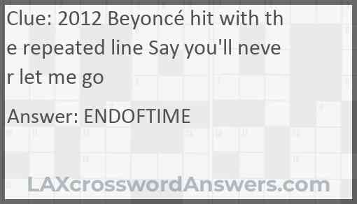 2012 Beyoncé hit with the repeated line Say you'll never let me go Answer