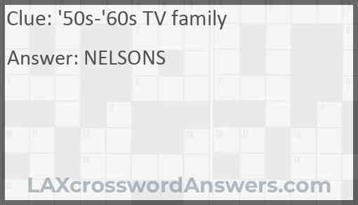 '50s-'60s TV family Answer