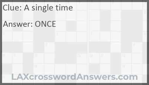 A single Time? Answer