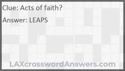 Acts of faith? Answer