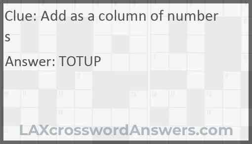 Add as a column of numbers Answer