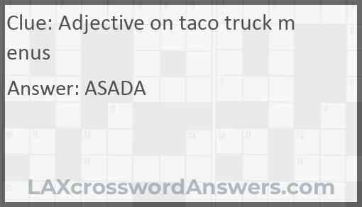 Adjective on taco truck menus Answer