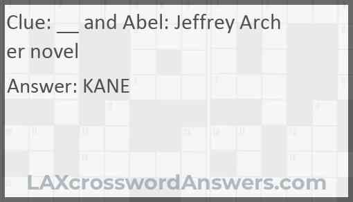 __ and Abel: Jeffrey Archer novel Answer