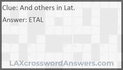 And others in Lat. Answer