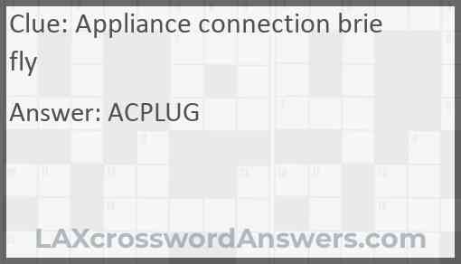 Appliance connection briefly Answer