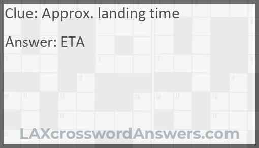 Approx. landing time Answer