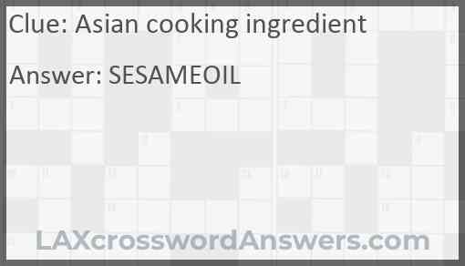 Asian cooking ingredient Answer