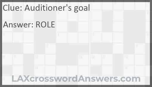 Auditioner's goal Answer