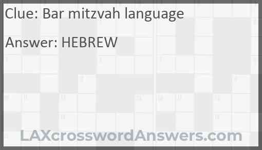 Bar mitzvah language Answer