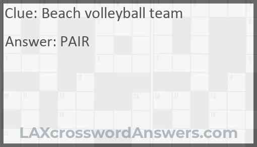 Beach volleyball team Answer