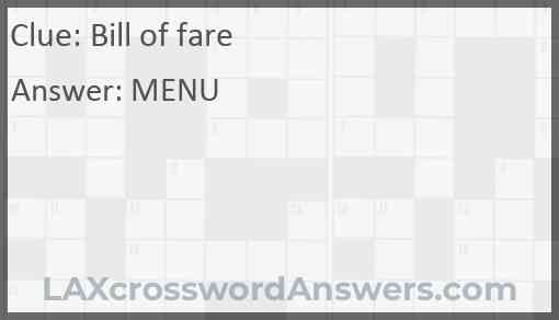 Bill of fare Answer