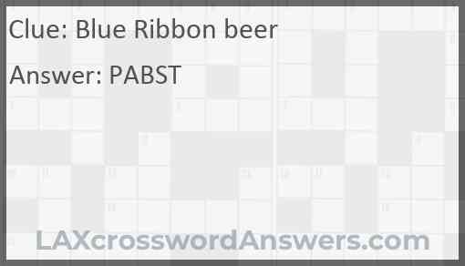 Blue Ribbon beer Answer