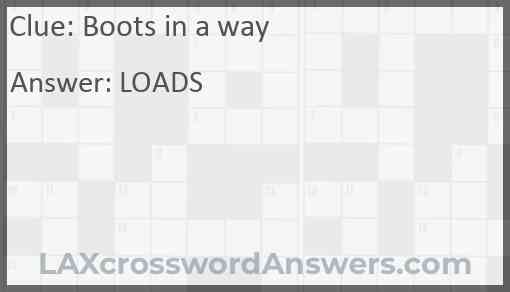 Boots in a way Answer