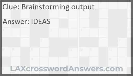 Brainstorming output Answer
