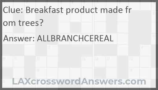 Breakfast product made from trees? Answer