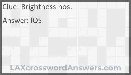Brightness nos. Answer