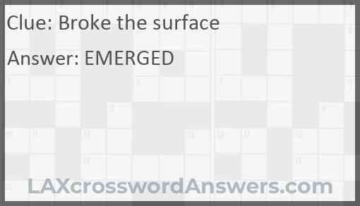 Broke the surface Answer