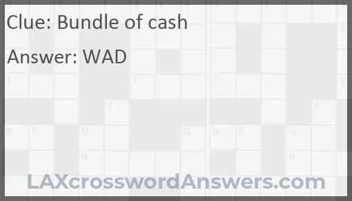 Bundle of cash Answer