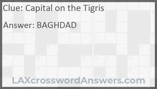 Capital on the Tigris Answer