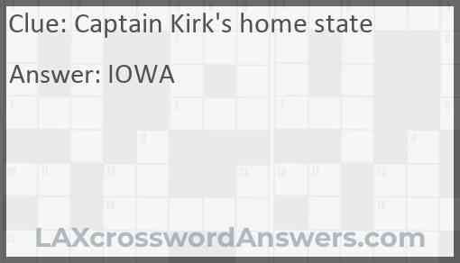 Captain Kirk's home state Answer