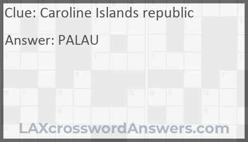 Caroline Islands republic Answer