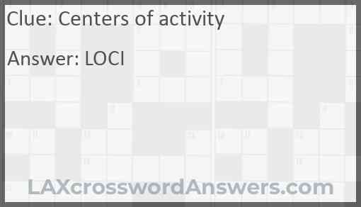 Centers of activity Answer
