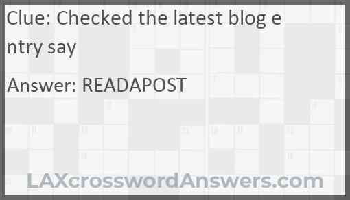 Checked the latest blog entry say Answer