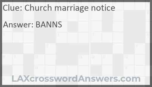 Church marriage notice Answer