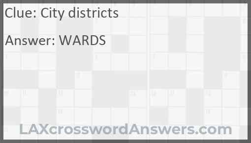 City districts Answer