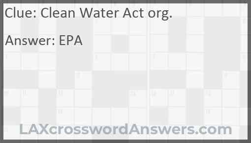 Clean Water Act org. Answer