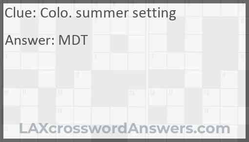 Colo. summer setting Answer