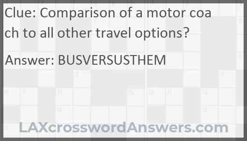 Comparison of a motor coach to all other travel options? Answer