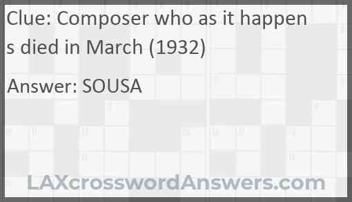 Composer who as it happens died in March (1932) Answer