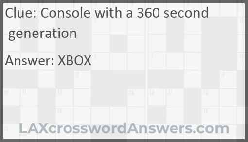 Console with a 360 second generation Answer