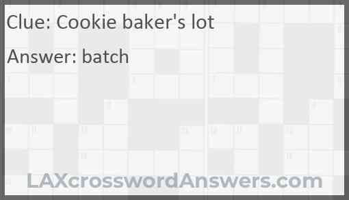 Cookie baker's lot Answer