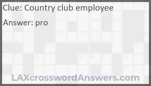Country club employee Answer