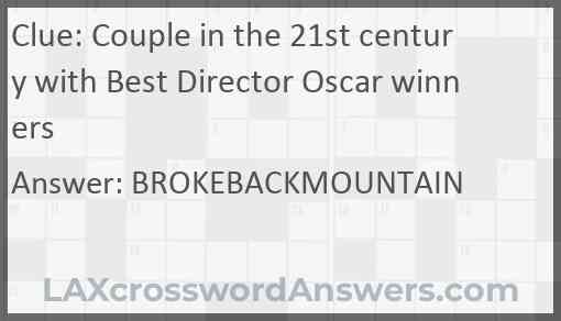 Couple in the 21st century with Best Director Oscar winners Answer