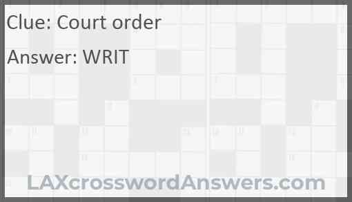 Court order Answer