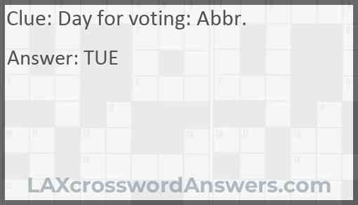 Day for voting: Abbr. Answer