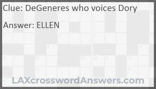 DeGeneres who voices Dory Answer