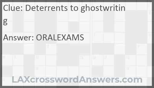 Deterrents to ghostwriting Answer