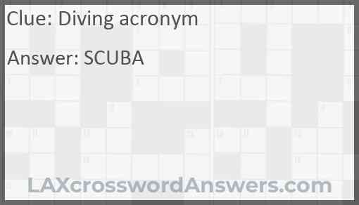 Diving acronym Answer