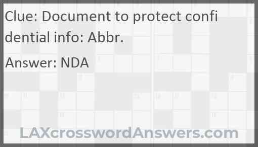 Document to protect confidential info: Abbr. Answer