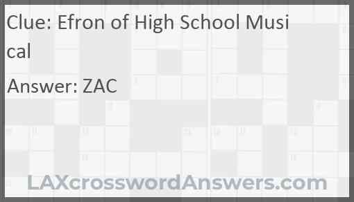 Efron of High School Musical Answer