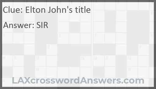 Elton John's title Answer