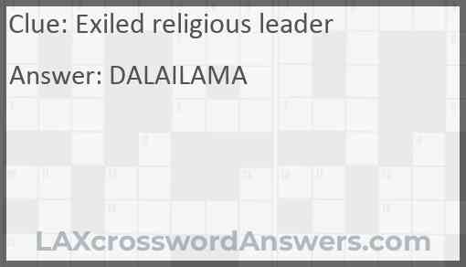 Exiled religious leader Answer