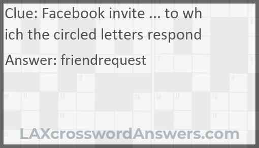 Facebook invite ... to which the circled letters respond Answer